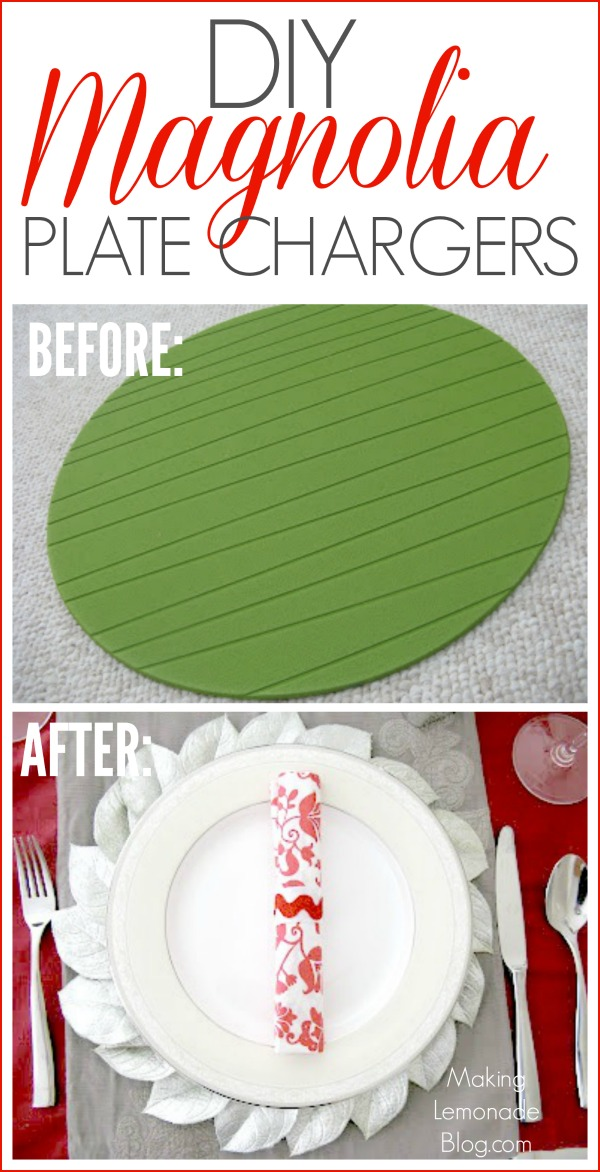 DIY Magnolia Plate Chargers- these Pottery Barn knockoffs are so pretty and can be made for under $2.50 each!