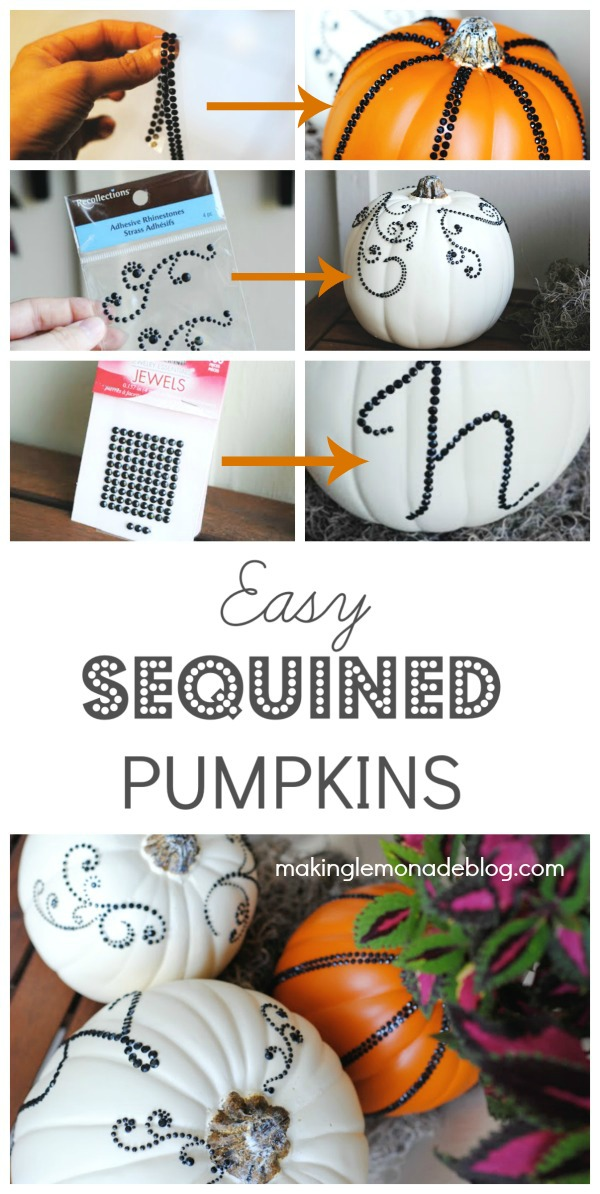 DIY Halloween Decor: Sequined Pumpkins