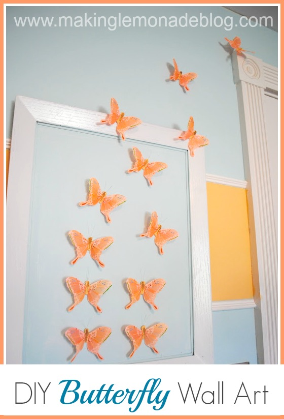 Diy butterfly wall art nursery decor making lemonade for Diy artwork for bedroom