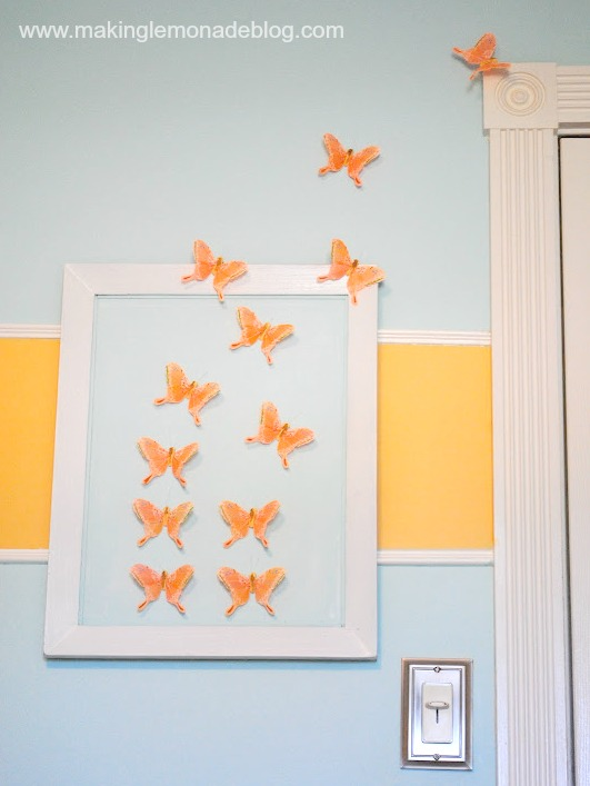 DIY butterfly wall art for girls bedroom