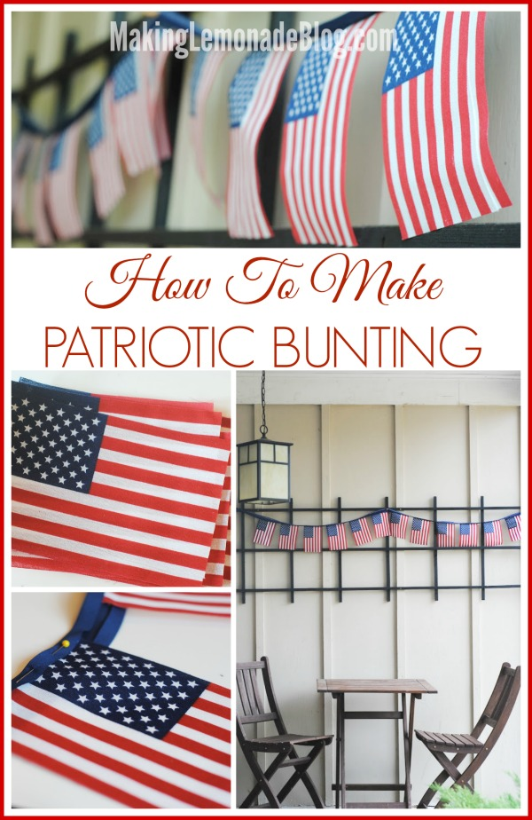 How to Make an EASY Patriotic Bunting for the Fourth of July! #fourth #redwhiteblue via makinglemonadeblog.com