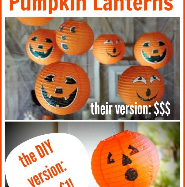 These Pottery Barn pumpkin lantern knock-offs cost only $1 to make, way less expensive than the catalog version!