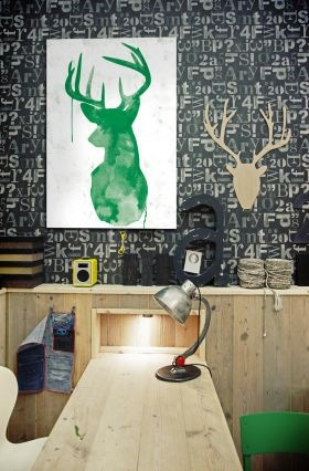deer art {Pantone Color of the Year: Emerald}