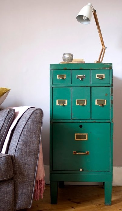 vintage filing cabinet {Pantone Color of the Year: Emerald}