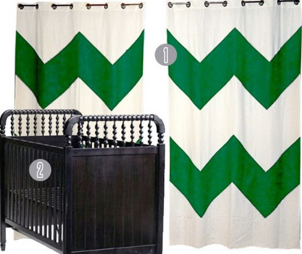 chevron curtains {Pantone Color of the Year: Emerald}