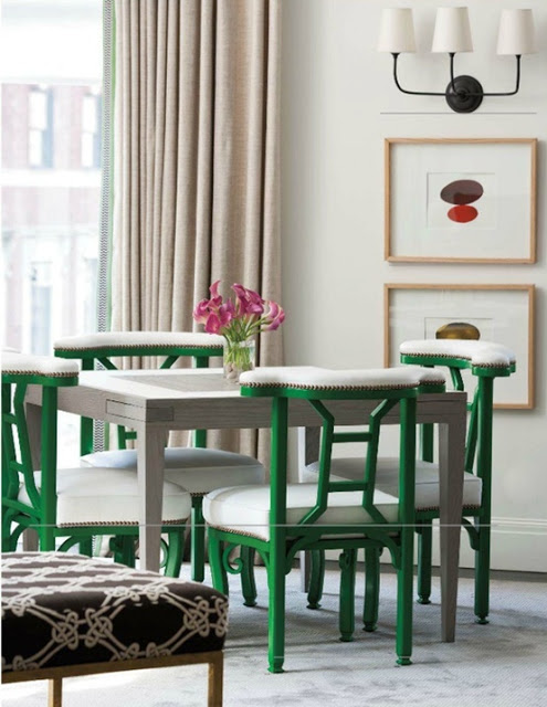 green vintage chairs {Pantone Color of the Year: Emerald}