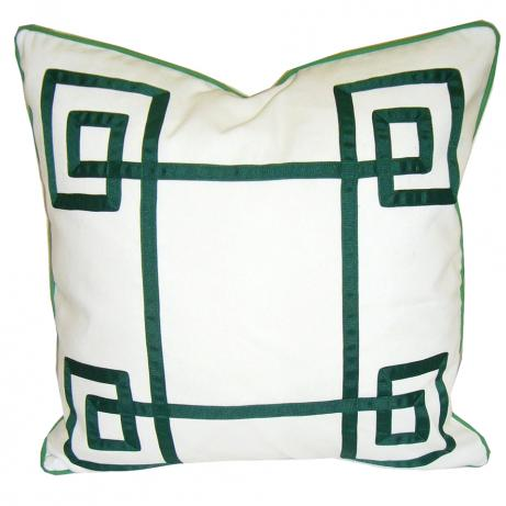 Greek Key Throw Pillow {Pantone Color of the Year: Emerald}