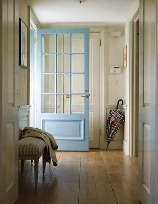 Blue door with glass