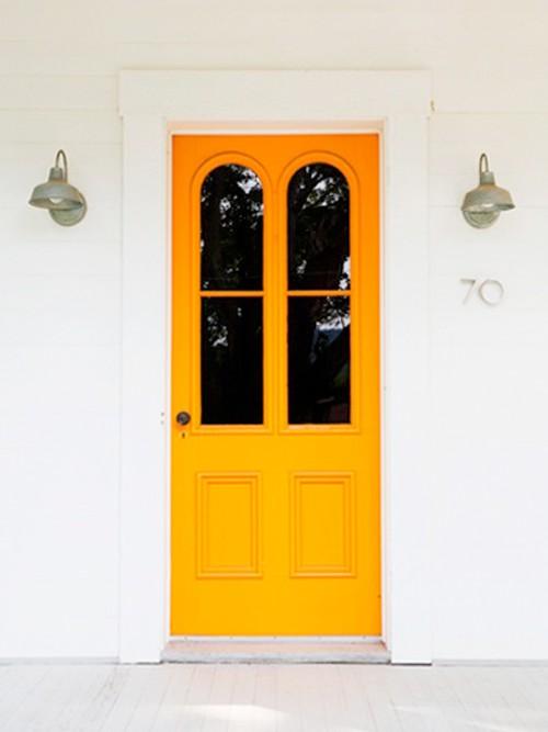 Bright yellow/orange front door
