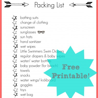 Free Printable Beach Bag Packing List