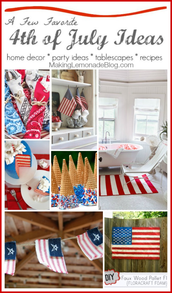 Gorgeous 4th of July Ideas! Recipes, decor, party ideas, and more. via makinglemonadeblog.com #fourthofjuly #redwhiteblue