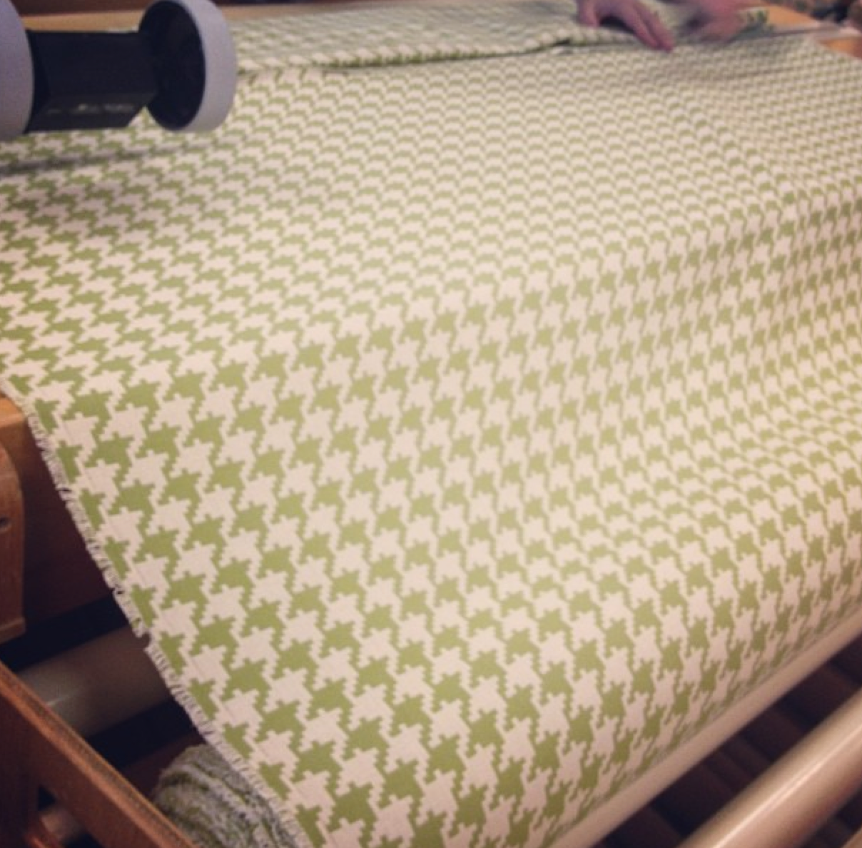 green houndstooth fabric