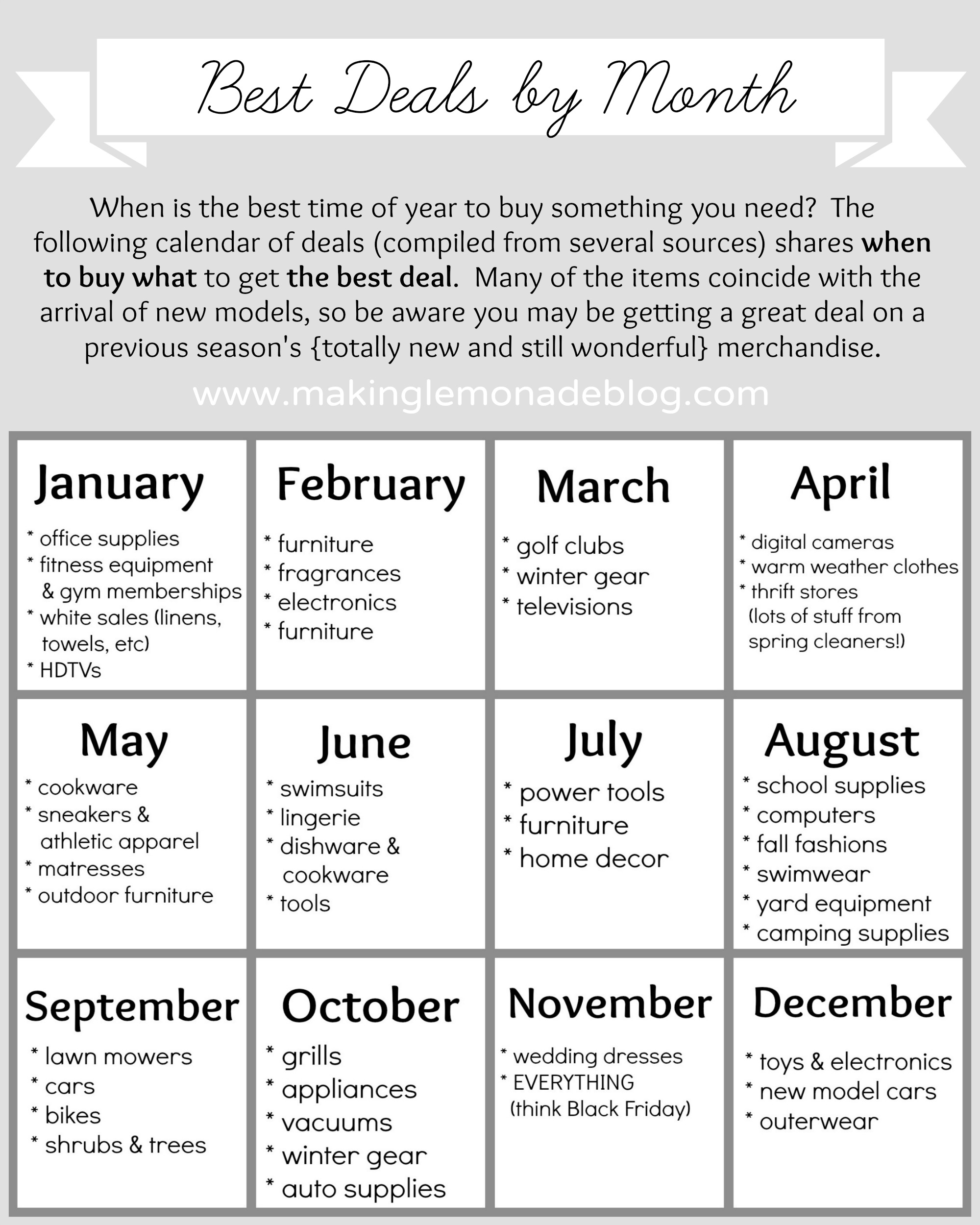 Best Deals by Month Calendar