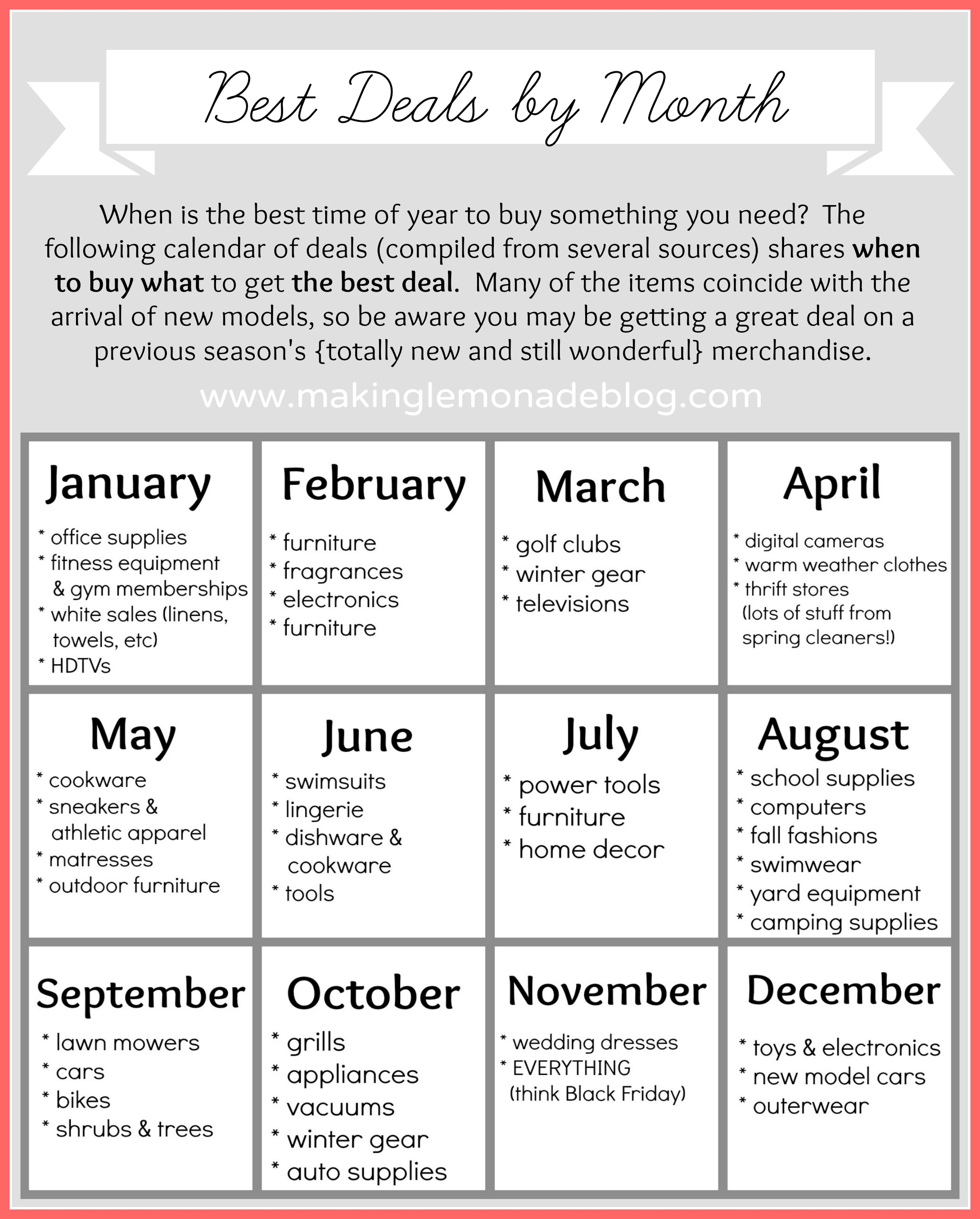 Free Printable: Best Deals By Month Calendar