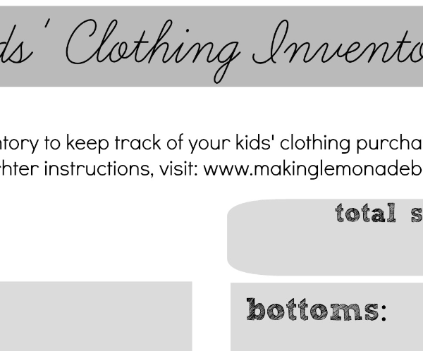 Free Printable Kids Clothing Inventory