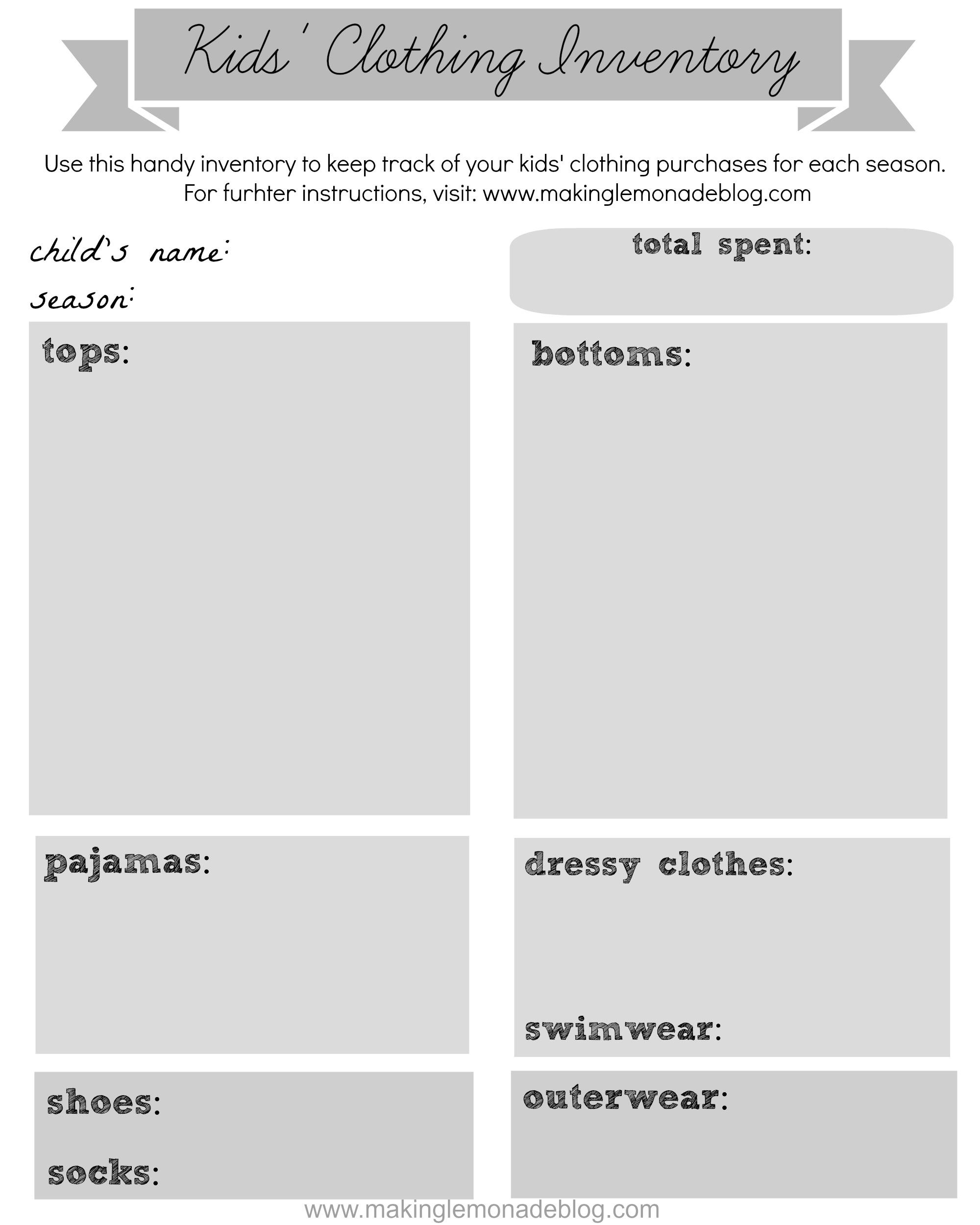 free printable kids clothing inventory