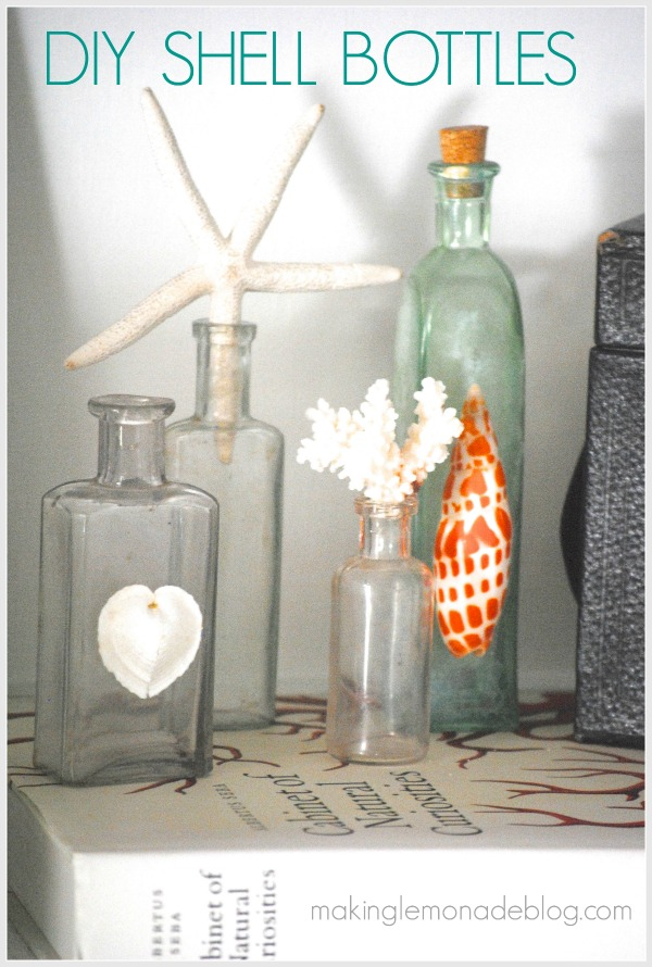 DIY Shell Bottles {Beach Coastal Decor Ideas}