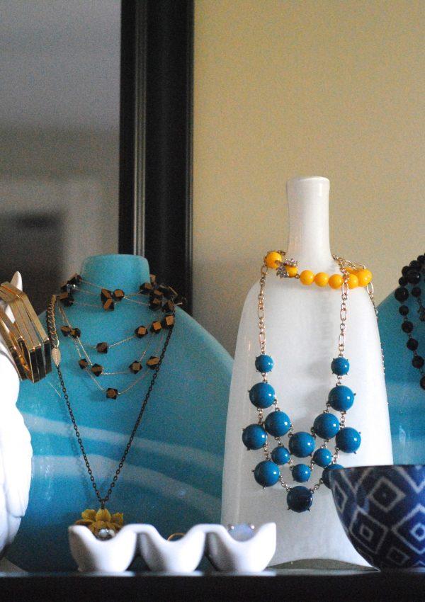 Jewelry Organization + Storage Idea: display jewelry on vases!