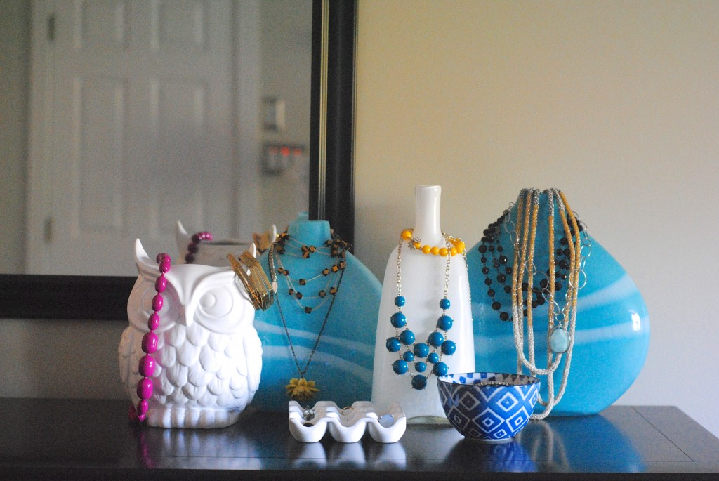 Jewelry Organization + Storage Idea: display jewelry on vases!
