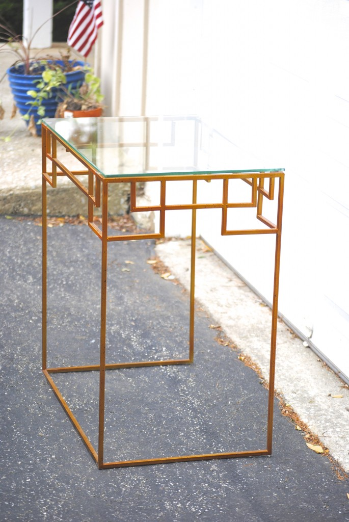 High End Style, Thrift Store Price: Greek Key Console Table Makeover {BEFORE}