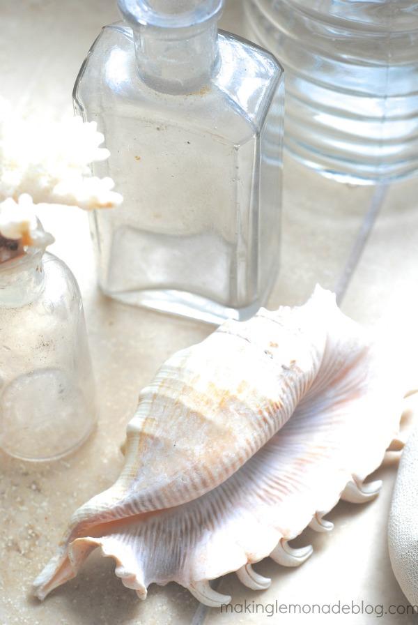 DIY Shell Bottles {Beach Coastal Decor Ideas}