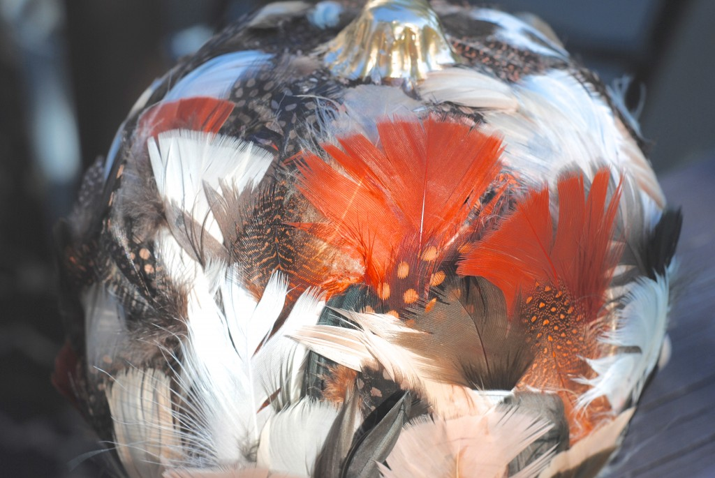No Carve Pumpkin Idea: Fun Feathered Pumpkin!