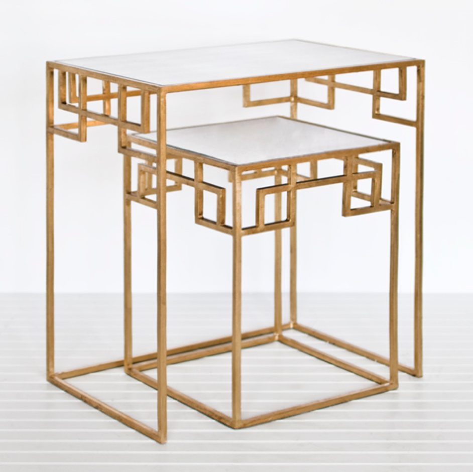 Gold Nesting Tables ~ Greek key console table minute decorating day