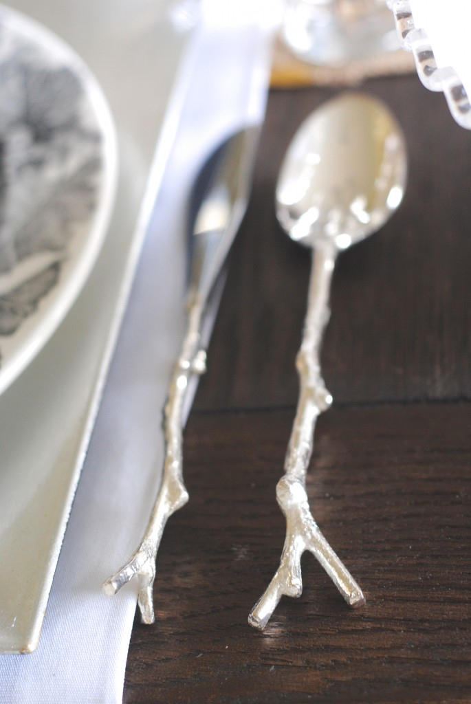 Modern mixed metallic thanksgiving tablescape making lemonade - Twig silverware ...