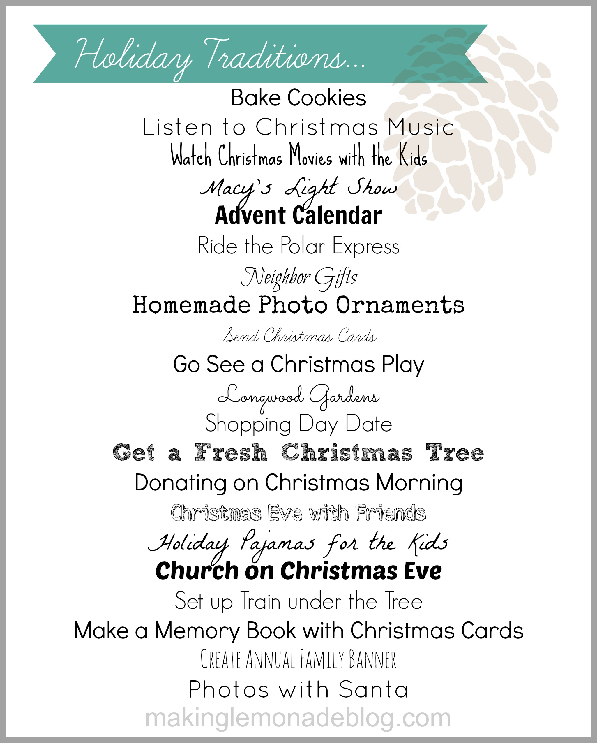 Free Printable List of Holiday Traditions