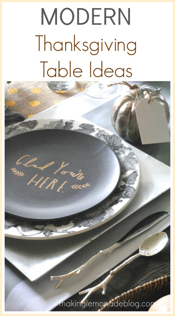 Modern Metallic Thanksgiving Tablescape Decor Ideas