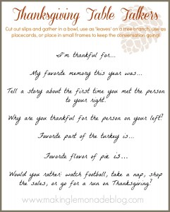 Free Printable: Thanksgiving Table Talkers