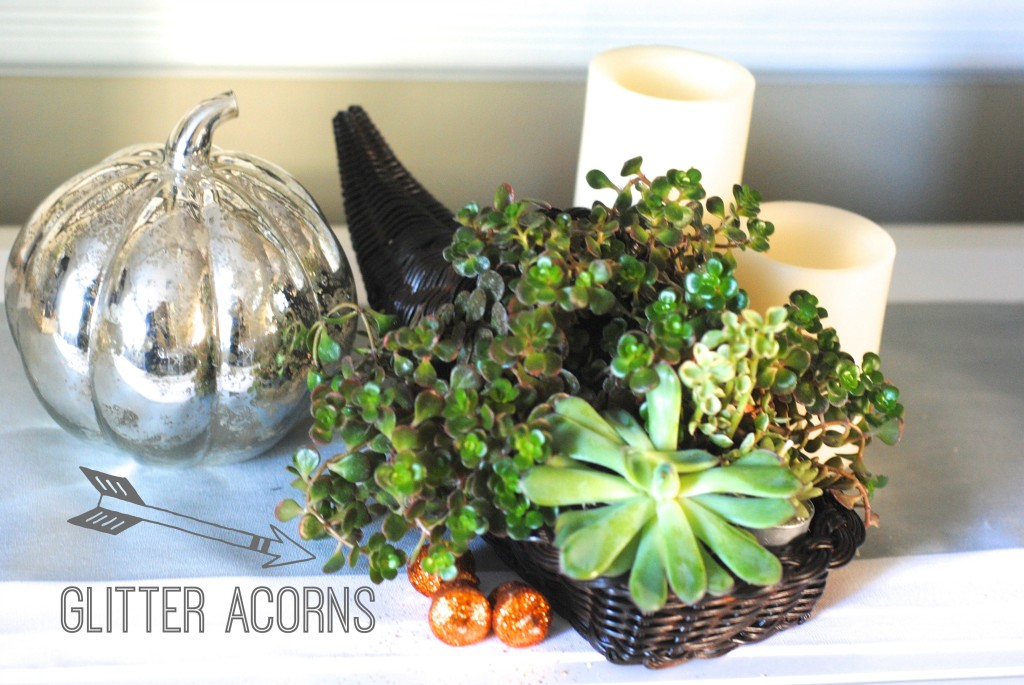 Modern Thanksgiving Cornucopia Ideas: succulents and burlap wrapped cornucopias
