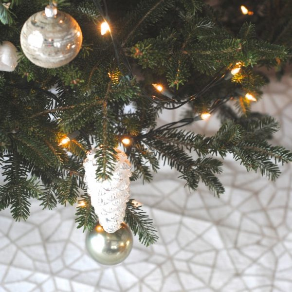 This is beautiful! A DIY stenciled tree skirt made from a dropcloth!