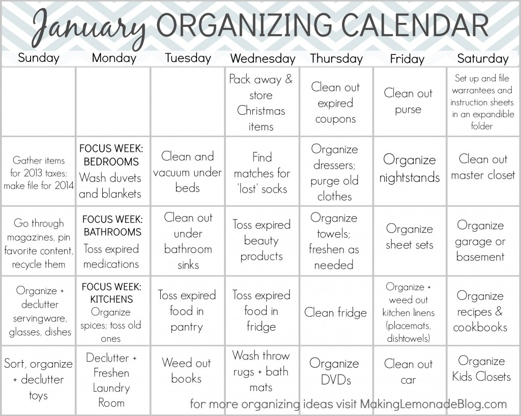 Calendar For Organization : Free printable january organizing calendar making lemonade
