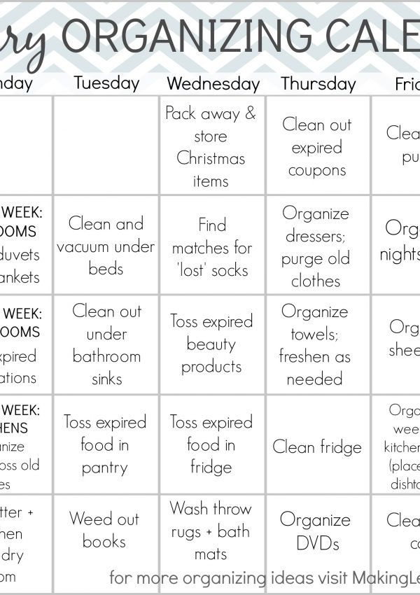 Free Printable January Organizing Calendar