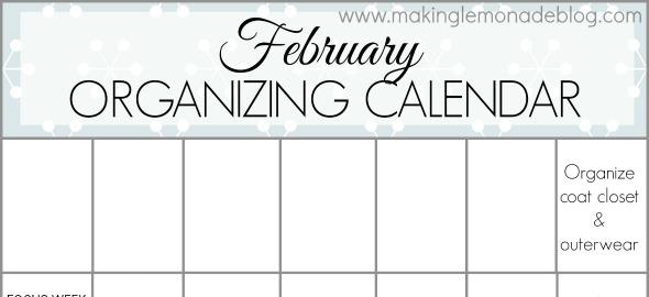 FREE printable February Organzing Calendar