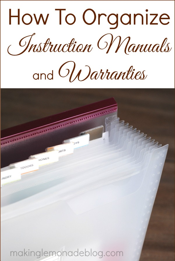 How to Organize Instruction Manuals and Warantees