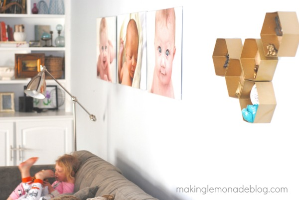 Easy DIY Hexagon Wall Shelves; you'll never guess what they're made from! www.makinglemonadeblog.com