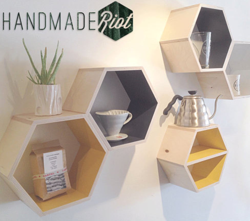 Easy DIY Hexagon Wall Shelves-- for under $15! www.makinglemonadeblog.com
