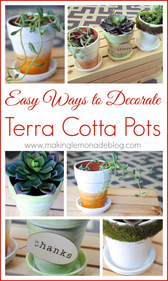 Pinterest Inspired Craft Party: Decorate Flower Pots with www.makinglemonadeblog.com!