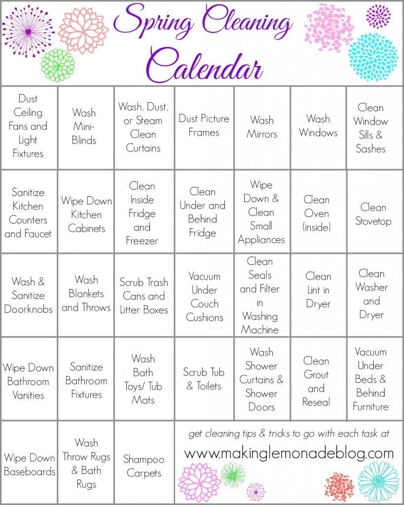 Free Printable Spring Cleaning Calendar- get your home fresh and clean in 31 days! www.makinglemonadeblog.com