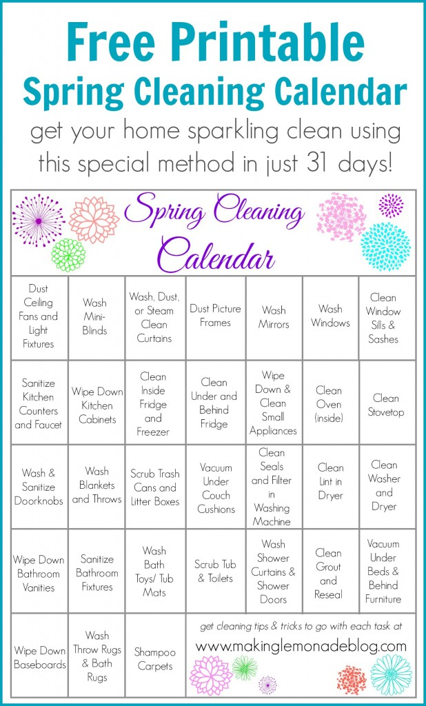 Free Printable Spring Cleaning Calendar Making Lemonade