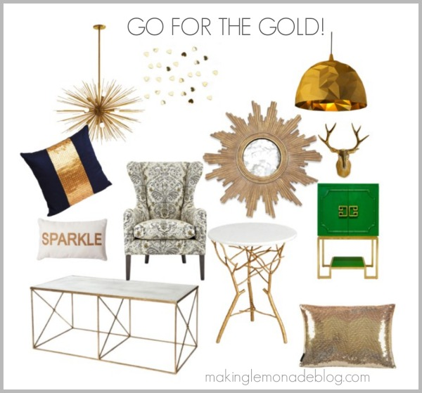 Go for the gold and silver bronze copper making lemonade Home decor gold