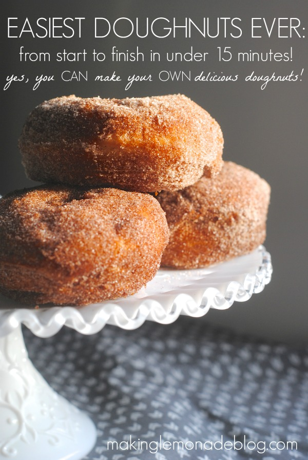 SUPER EASY Homemade Doughnuts! Find out the secret to making delicious doughnuts at home in just minutes! via www.makinglemonadeblog.com #doughnuts #donut #recipe #dessert