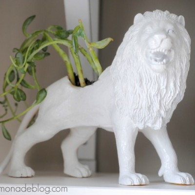 In Like a Lion {Faux Ceramic Animal Planter}