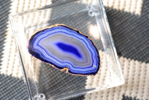 Hot glue an agate on the acrylic box