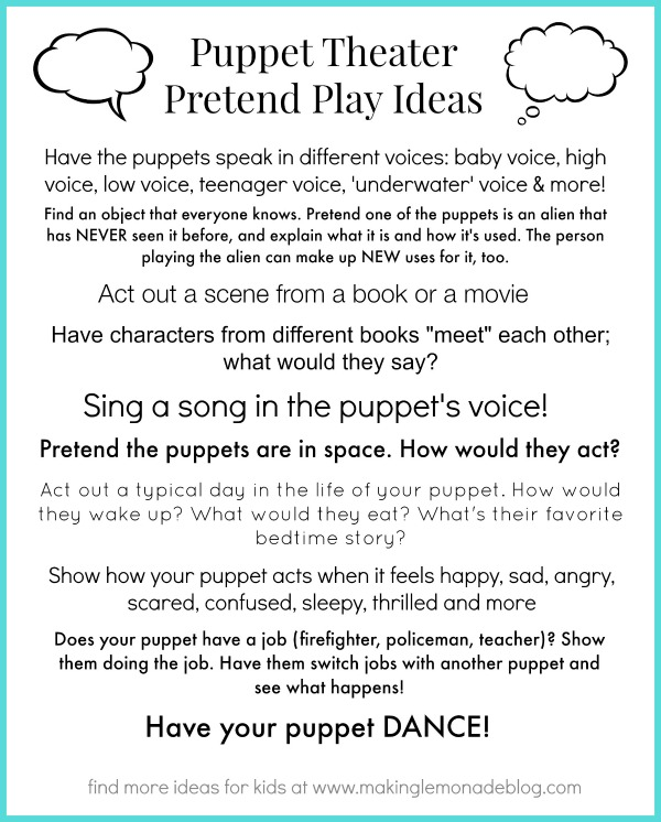 Free Printable Pretend Play Activities for Kids #kids #play via www.makinglemonadeblog.com