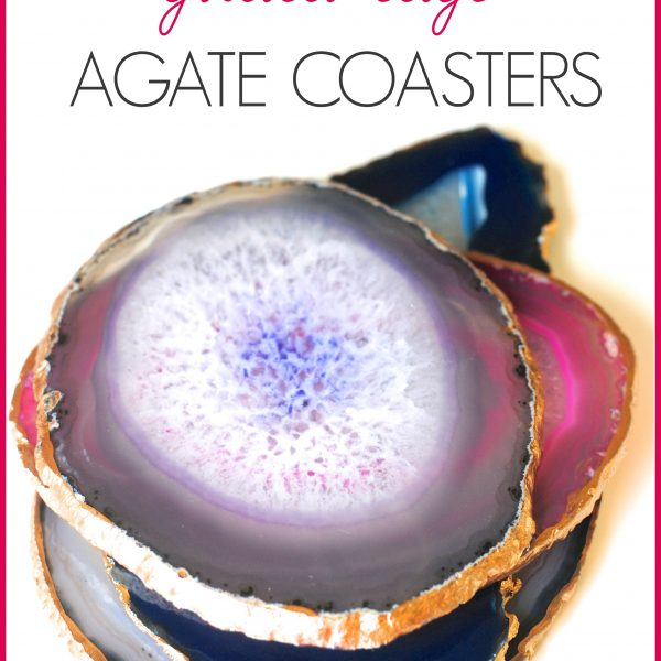Don't spend a fortune, make these trendy gilded edge coasters yourself. Makes a great gift, too! EASY tutorial at www.makinglemonadeblog.com #agate #DIY #giftidea