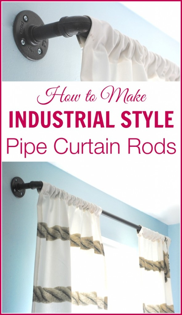 these DIY industrial style curtain rods are a cinch to make, and way cheaper than the West Elm version. Get the tutorial at www.makinglemonadeblog.com! #DIY #knockoff #curtains