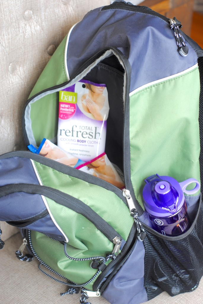 """Must-haves for your gym bag-- what you need, what you don't, plus a great new product you'll love! #workout #gym www.makinglemonadeblog.com  You won't know it to look at me, but I'm somewhat of a gym rat (okay, maybe not rat, but perhaps hedgehog? or... hamster?) My daily routine currently involves dropping my kids off at preschool, driving over to the gym for a workout, then perhaps squeezing in one more errand or sitting in the parking lot answering emails like a TOTALLY SANE PERSON. Then it's time to pick up the kids again, and our day really begins. Notice what's not in there? Much time for person hygiene. Or, any time for personal hygiene. Really, stop standing so close to me.  Must-haves for your gym bag-- what you need, what you don't, plus a great new product you'll love! #workout #gym www.makinglemonadeblog.com  I'm kinda a snoop when it comes to seeing what's in other people's bags-- not that I peek in people's bags, but I love segments on t.v. or blogs where people share what's in their bag or favorite products and whatnot. So I thought you might like to see what a busy mom who """"tries"""" to keep it simple has in her gym bag, so you can either see what helps me get through my day or judge me. Whatevs floats your boat. Especially since I've found a new product you're going to love-- trust me!  Here's what's in my bag on a daily basis-- just about everything I need:      reusable water bottle-- get one that's easy to drink while on the move!     small towel     headphones     smartphone (I use mine to stream Pandora stations and keep track of my workout in Evernote, plus my gym has an app)     ponytail holder and headband     lip balm     strength training workout plan (from my trainer)     lock     Valor essential oil for a total mood booster pre-workout     Ban Total Refresh Cooling Body Cloths (read on, my friend...)  Must-haves for your gym bag-- what you need, what you don't, plus a great new product you'll love! #workout #gym www.makinglemonadeblog.com  """